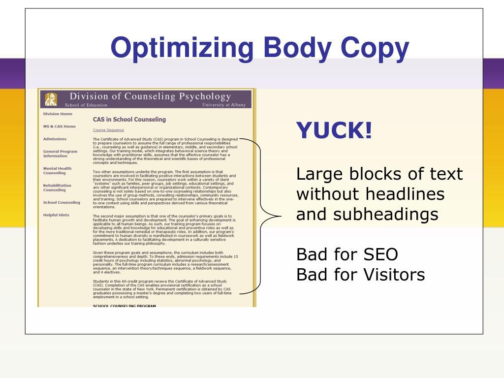 Optimizing Body Copy