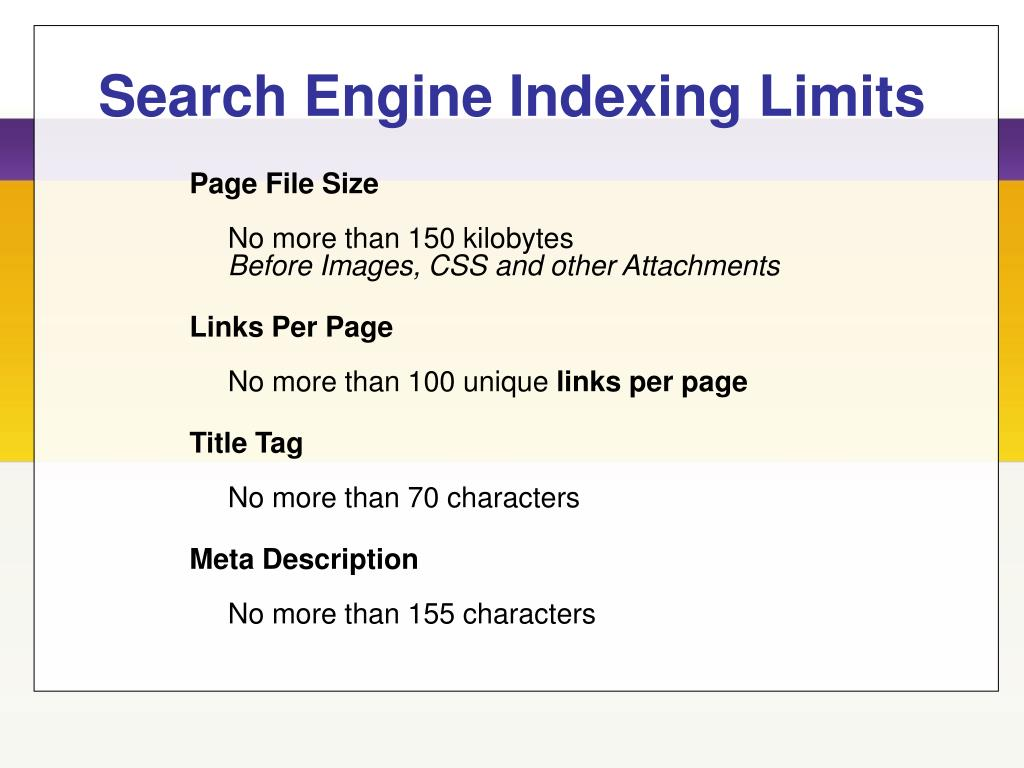 Search Engine Indexing Limits