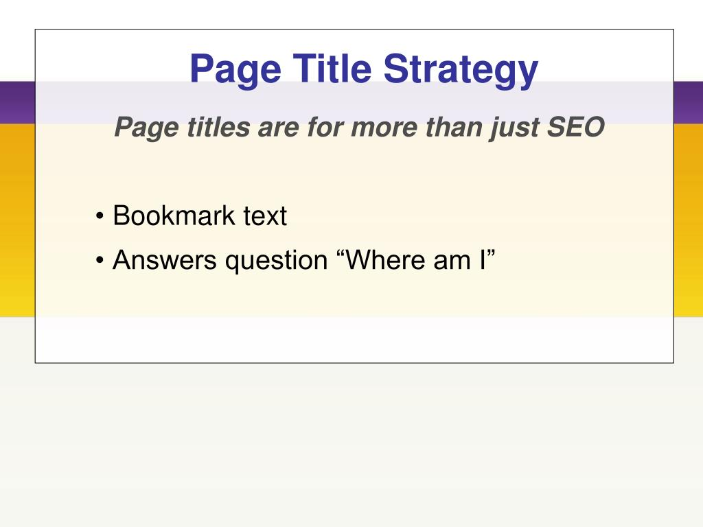 Page Title Strategy