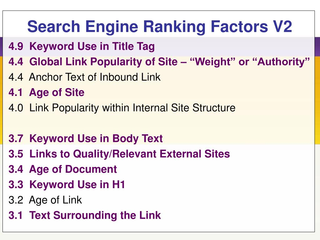 Search Engine Ranking Factors V2