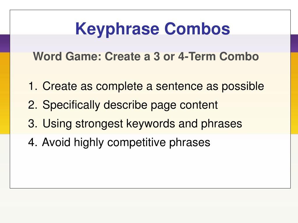 Keyphrase Combos
