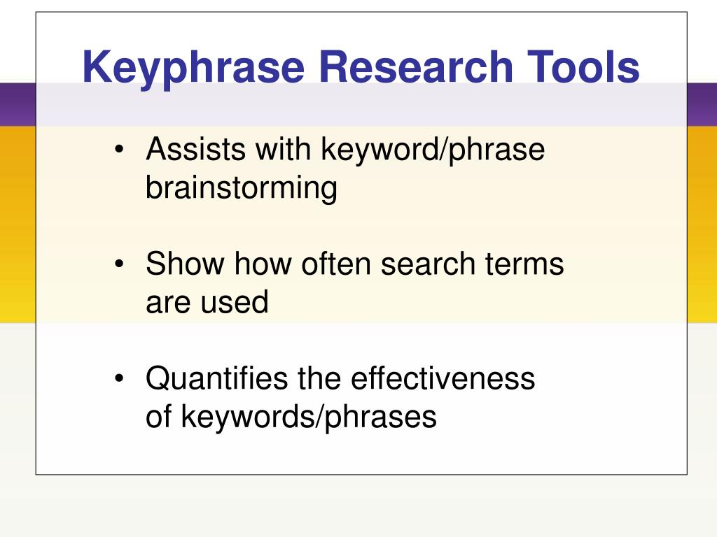 Keyphrase Research Tools