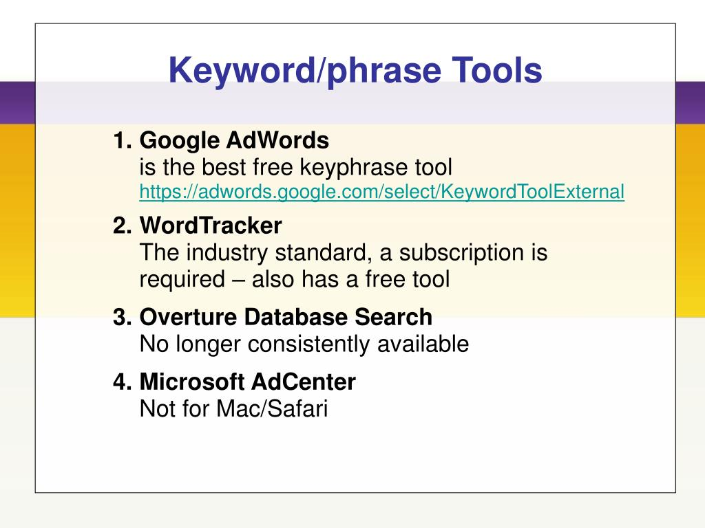 Keyword/phrase Tools