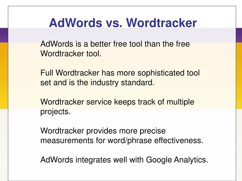 AdWords vs. Wordtracker