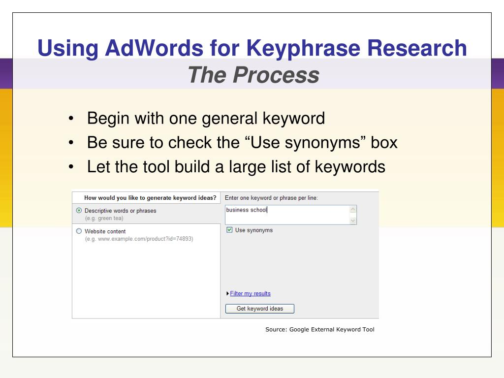 Using AdWords for Keyphrase Research