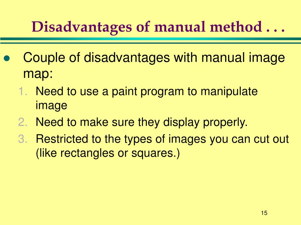Disadvantages of manual method . . .