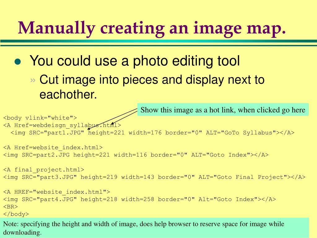 Manually creating an image map.