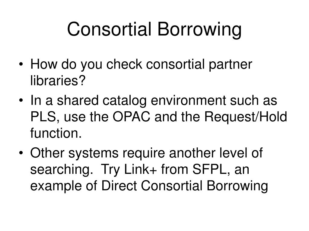 Consortial Borrowing