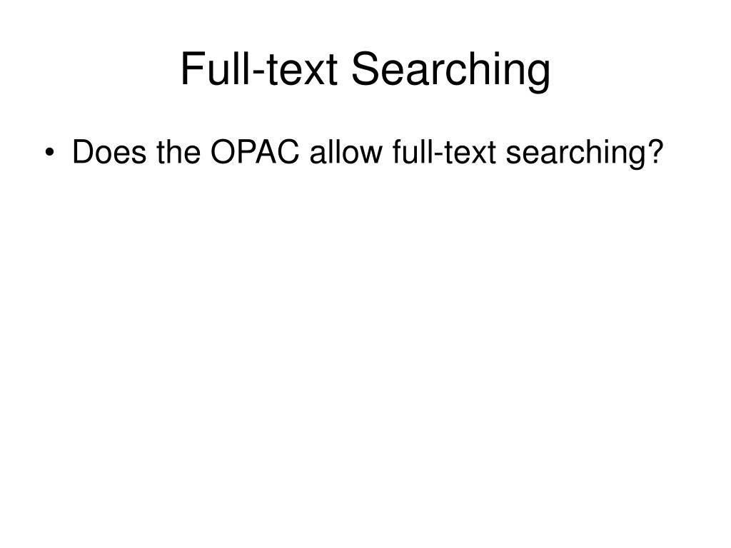 Full-text Searching