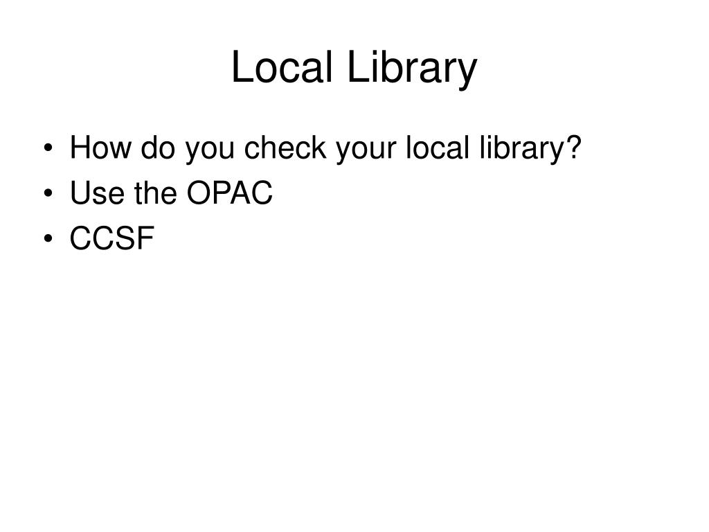 Local Library