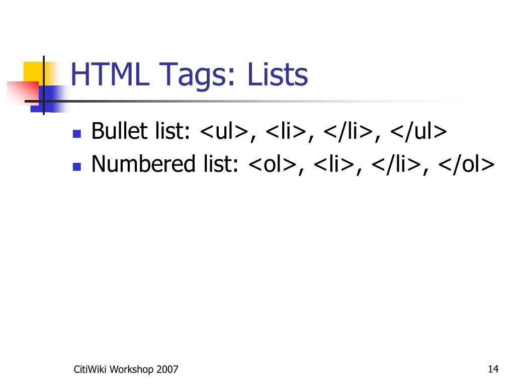 HTML Tags: Lists