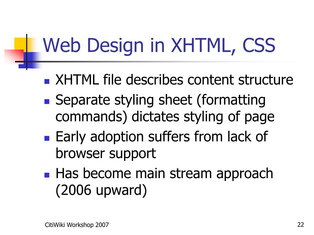 Web Design in XHTML, CSS