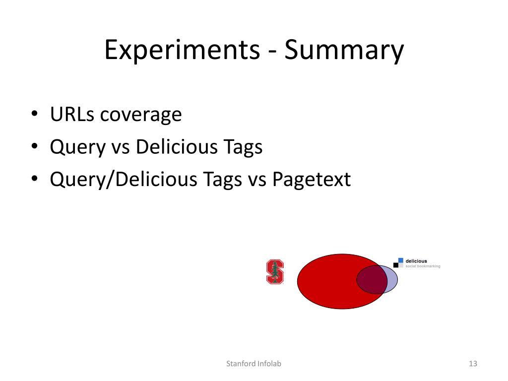 Experiments - Summary