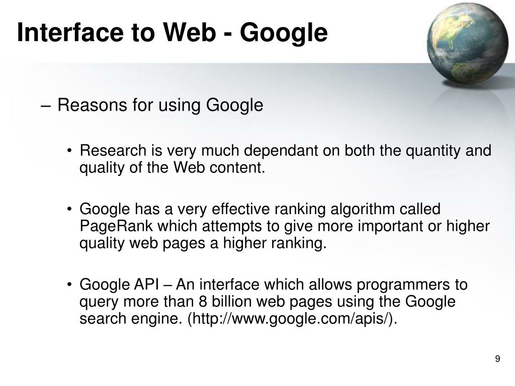 Interface to Web - Google