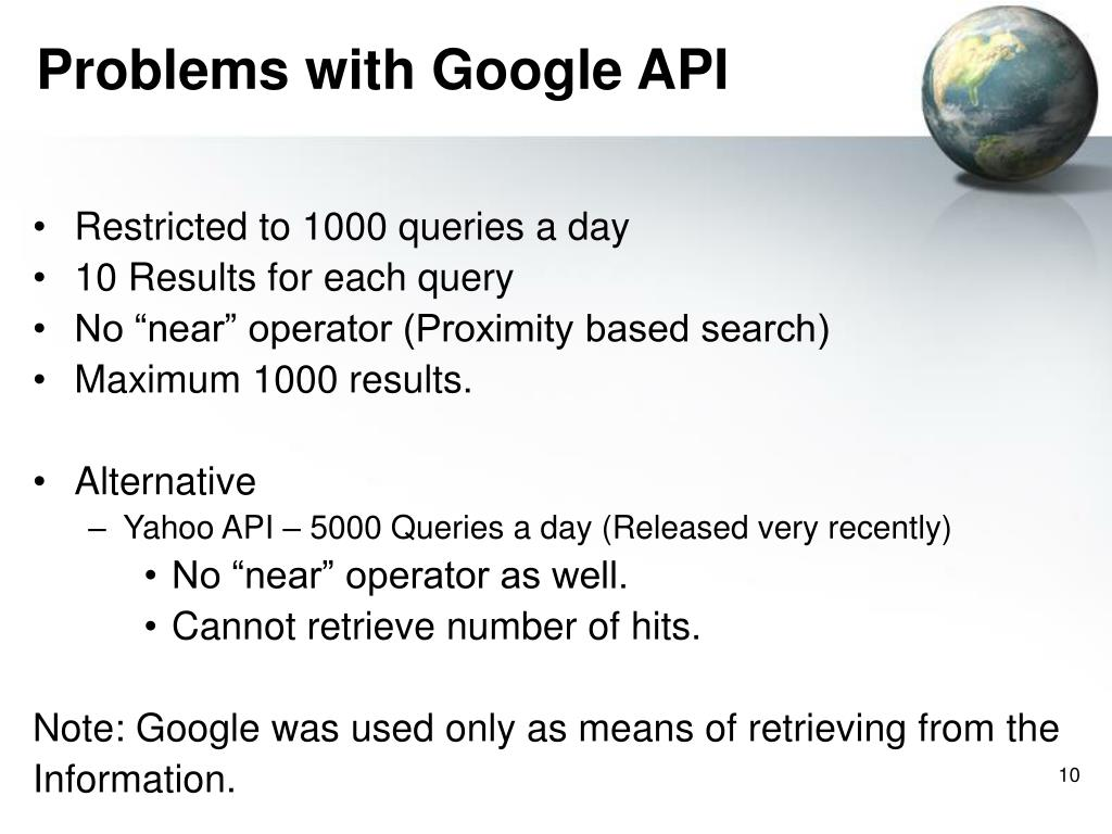 Problems with Google API