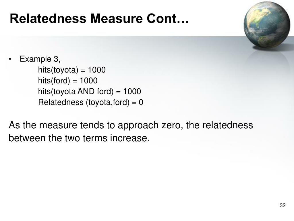 Relatedness Measure Cont…