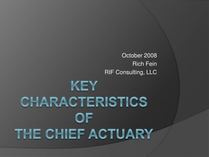 October 2008 rich fein rif consulting llc