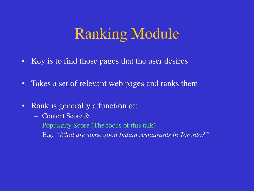 Ranking Module