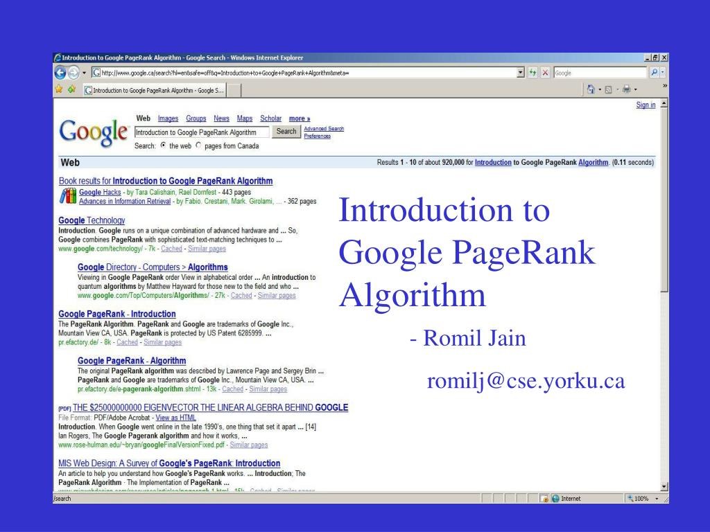Introduction to Google PageRank Algorithm