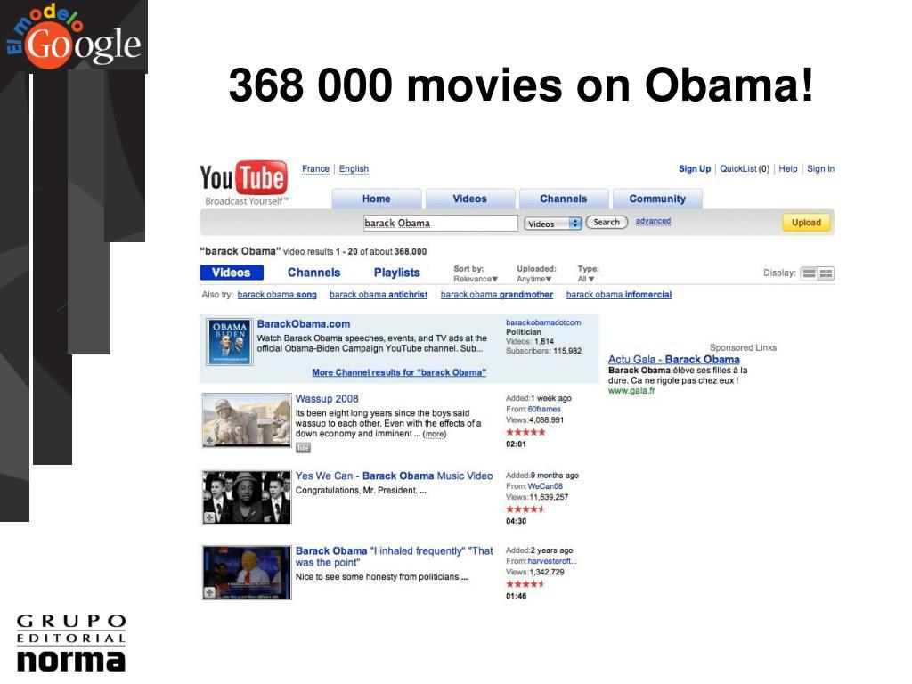 368 000 movies on Obama!