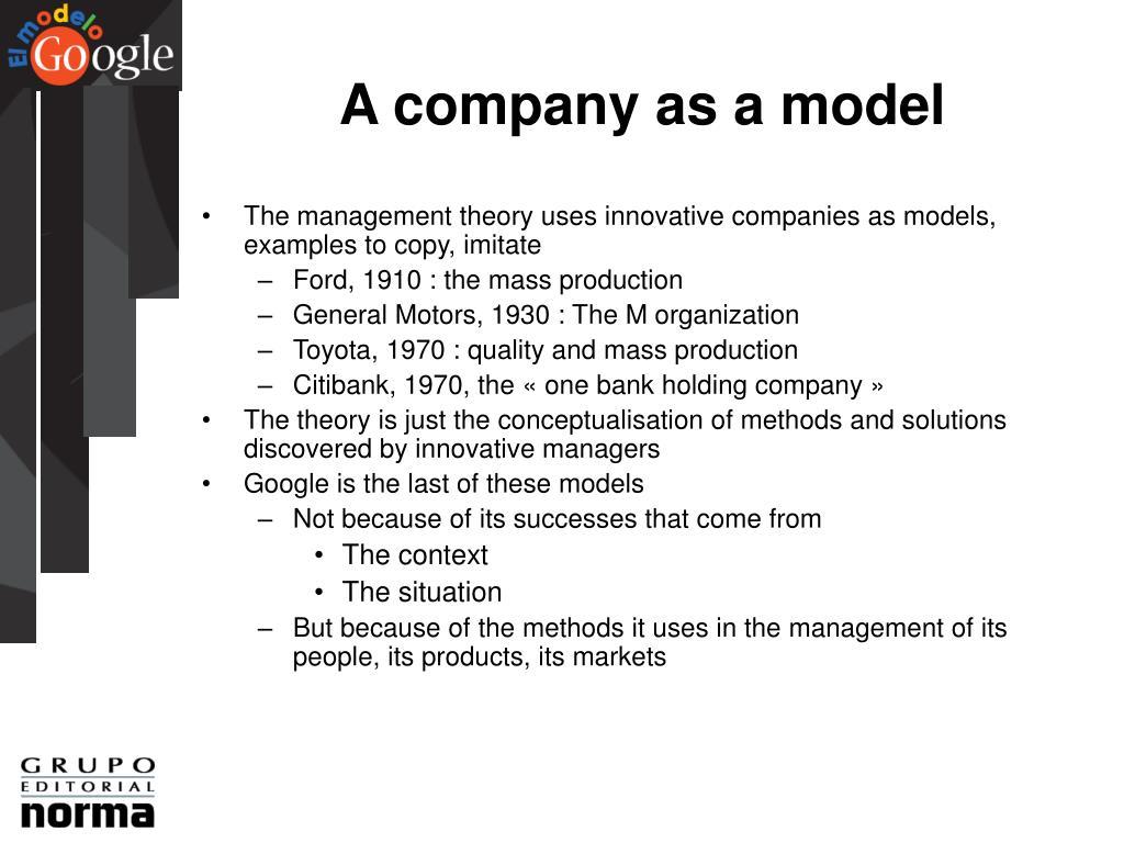 A company as a model