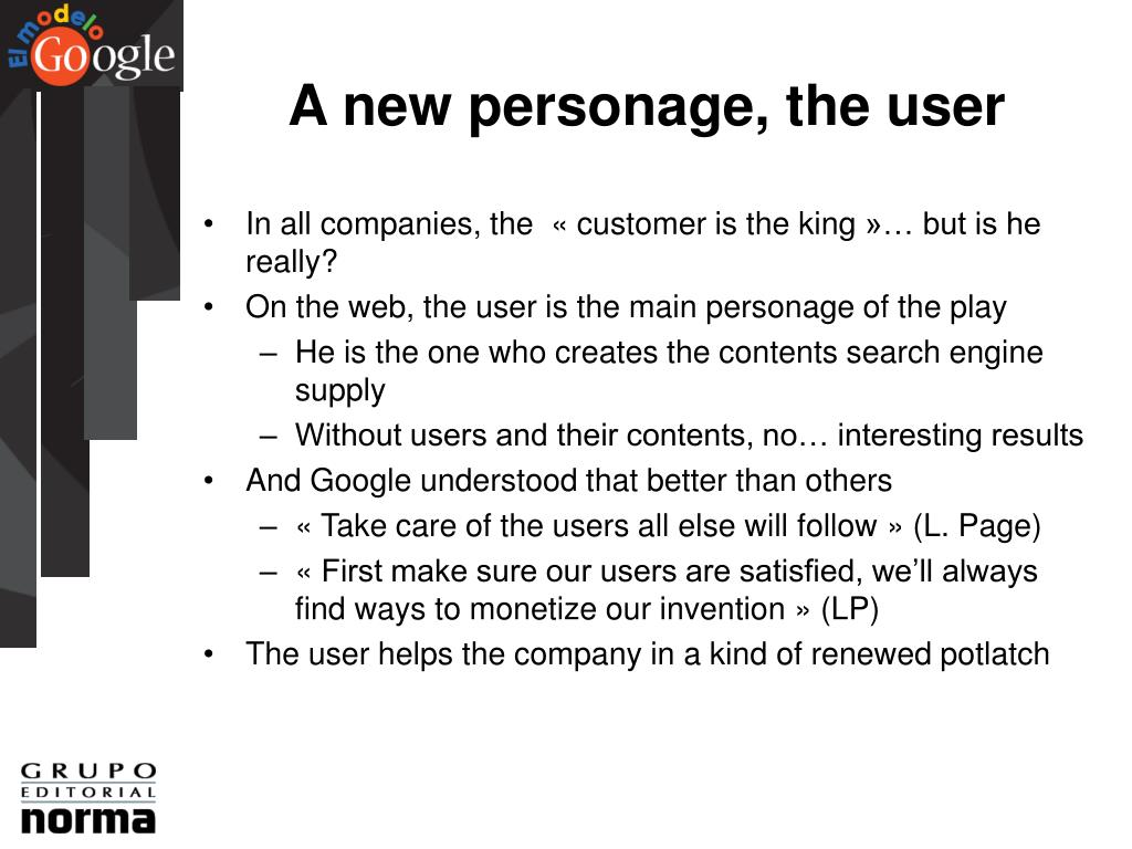 A new personage, the user