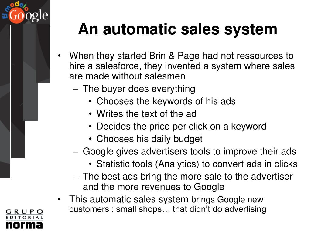 An automatic sales system