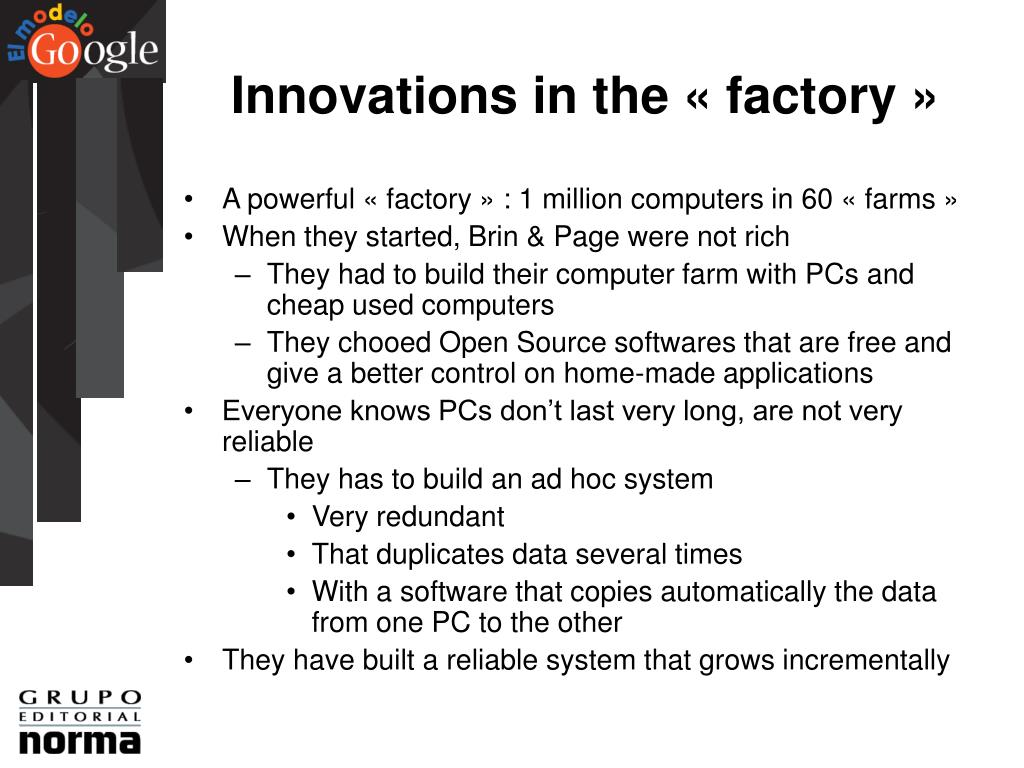 Innovations in the « factory »