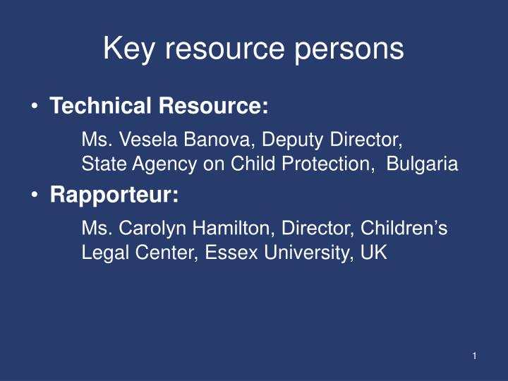 Key resource persons