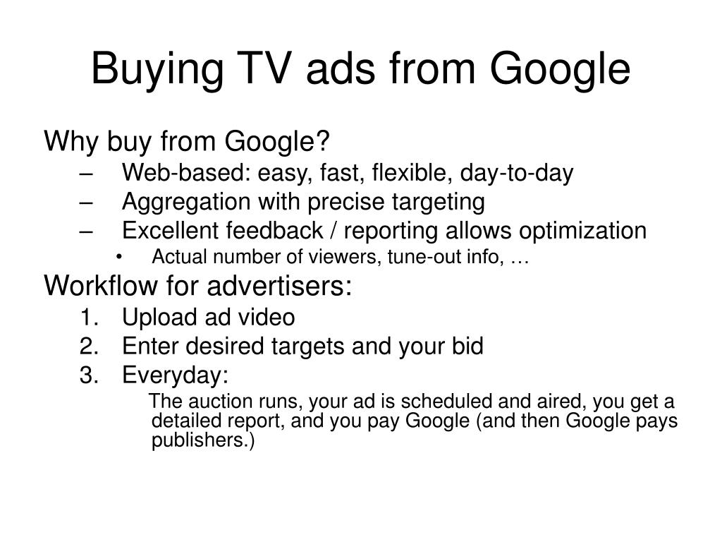 Buying TV ads from Google