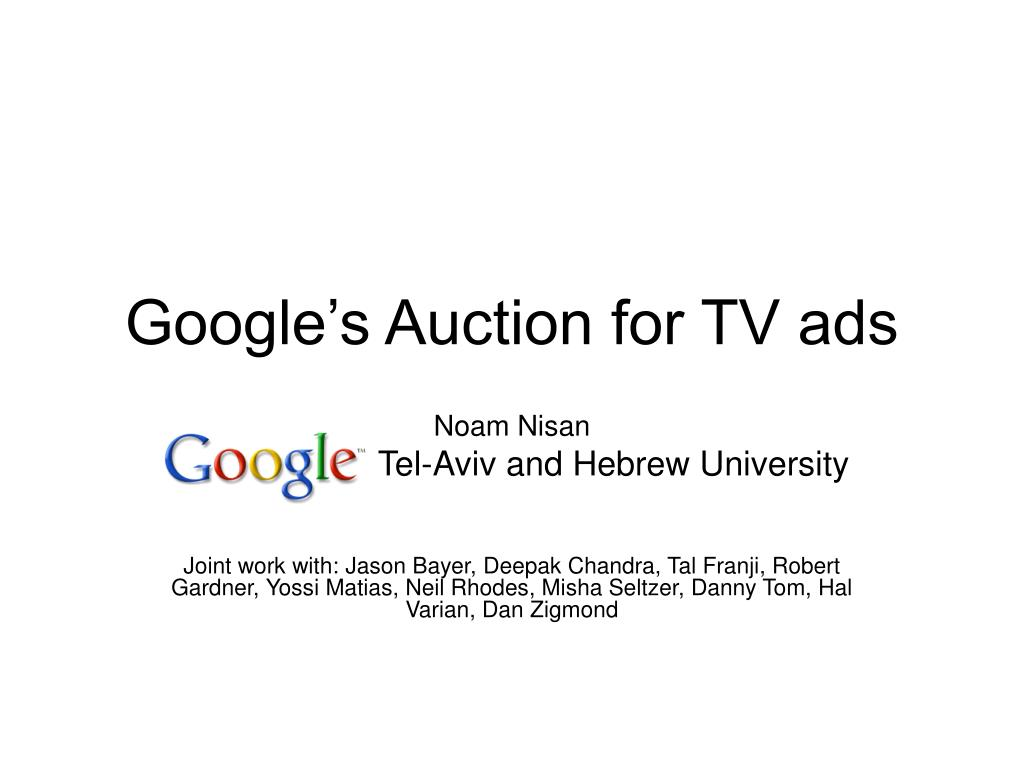 Google's Auction for TV ads