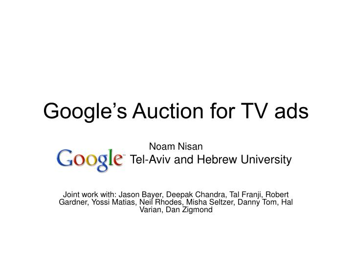 Google s auction for tv ads