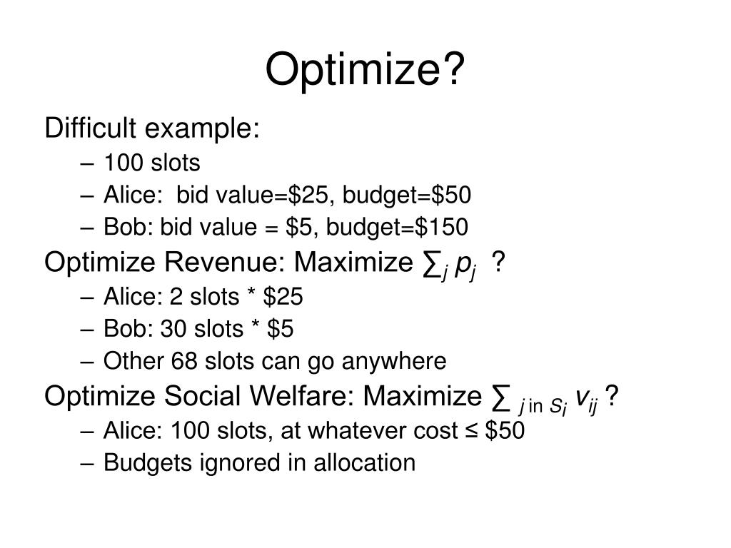 Optimize?