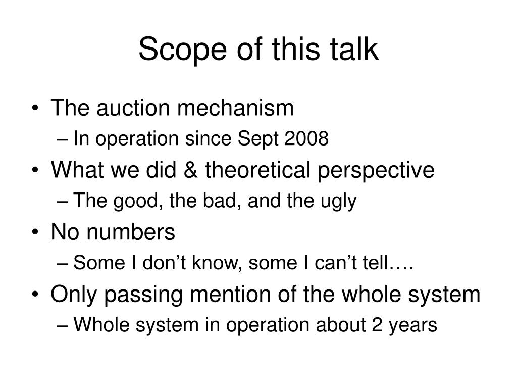 Scope of this talk