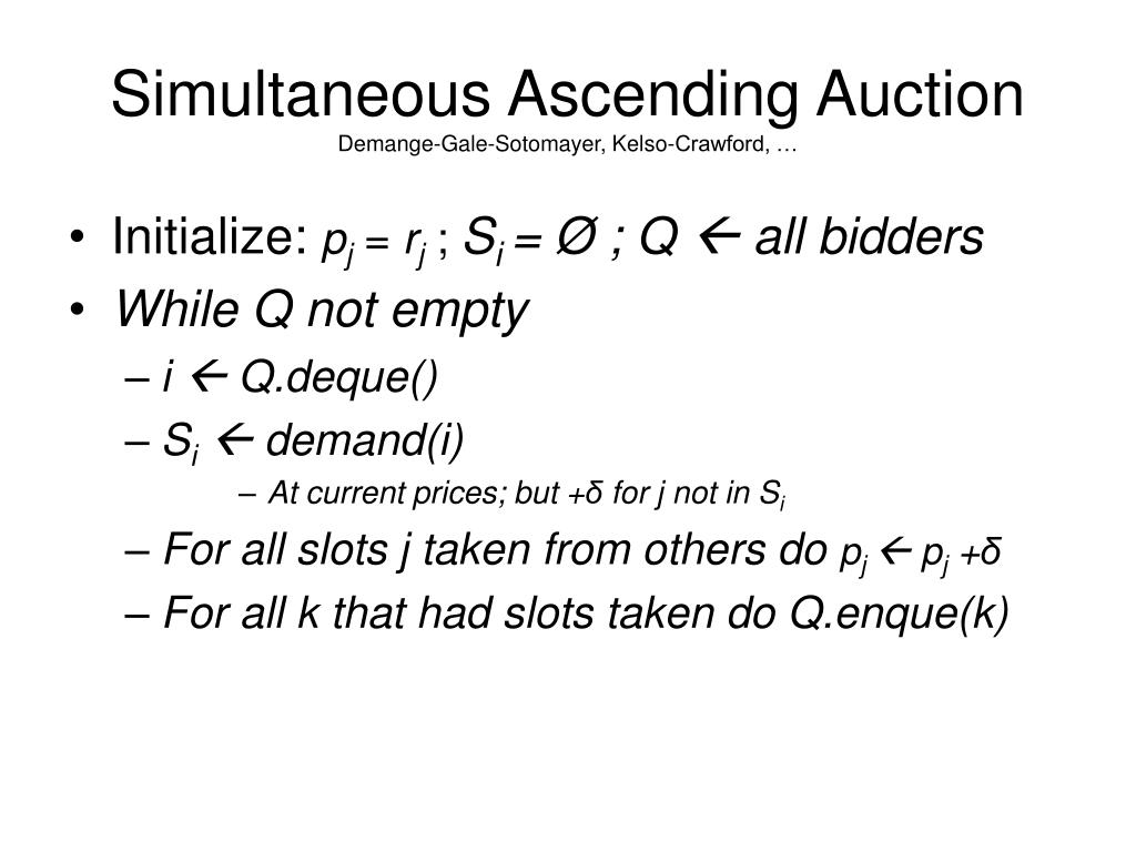 Simultaneous Ascending Auction