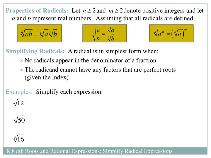 Properties of Radicals: