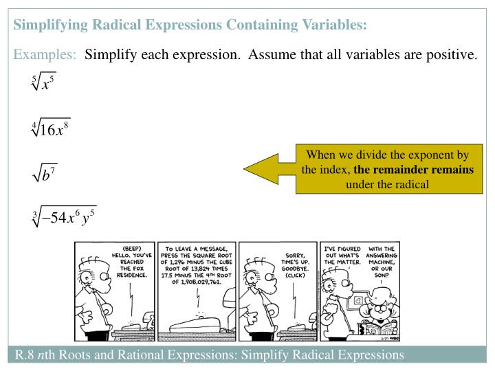 Simplifying Radical Expressions Containing Variables:
