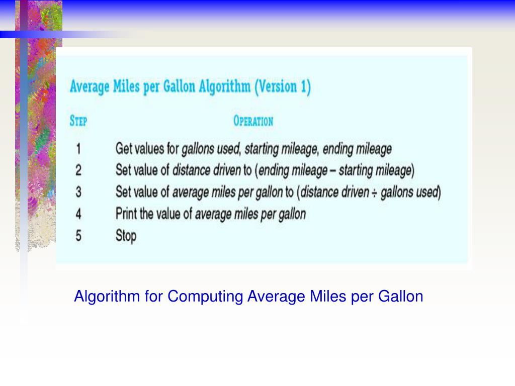 Algorithm for Computing Average Miles per Gallon
