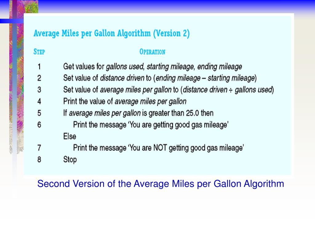 Second Version of the Average Miles per Gallon Algorithm