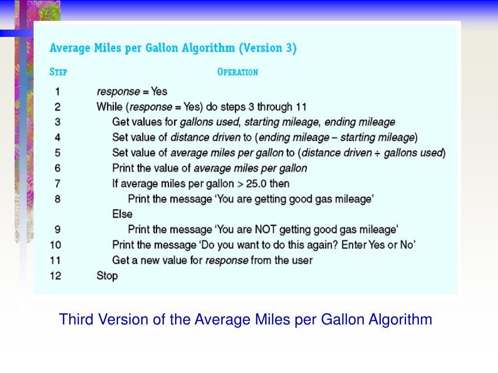 Third Version of the Average Miles per Gallon Algorithm