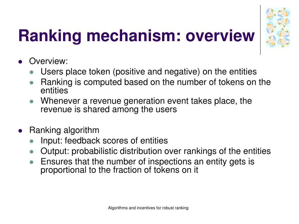 Ranking mechanism: overview