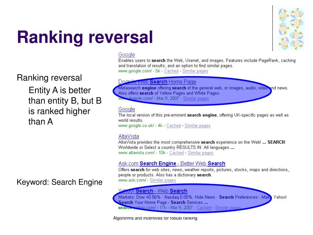 Ranking reversal