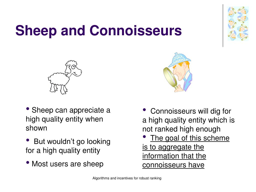 Sheep and Connoisseurs