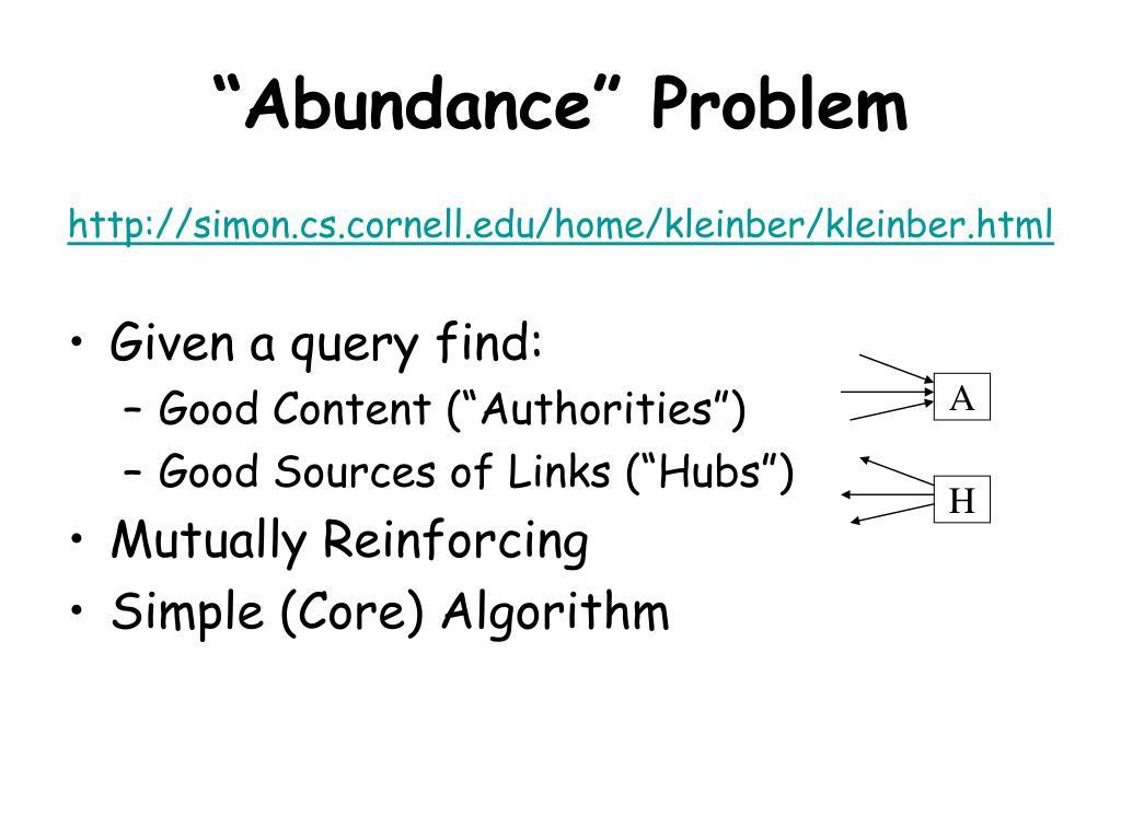 """Abundance"" Problem"