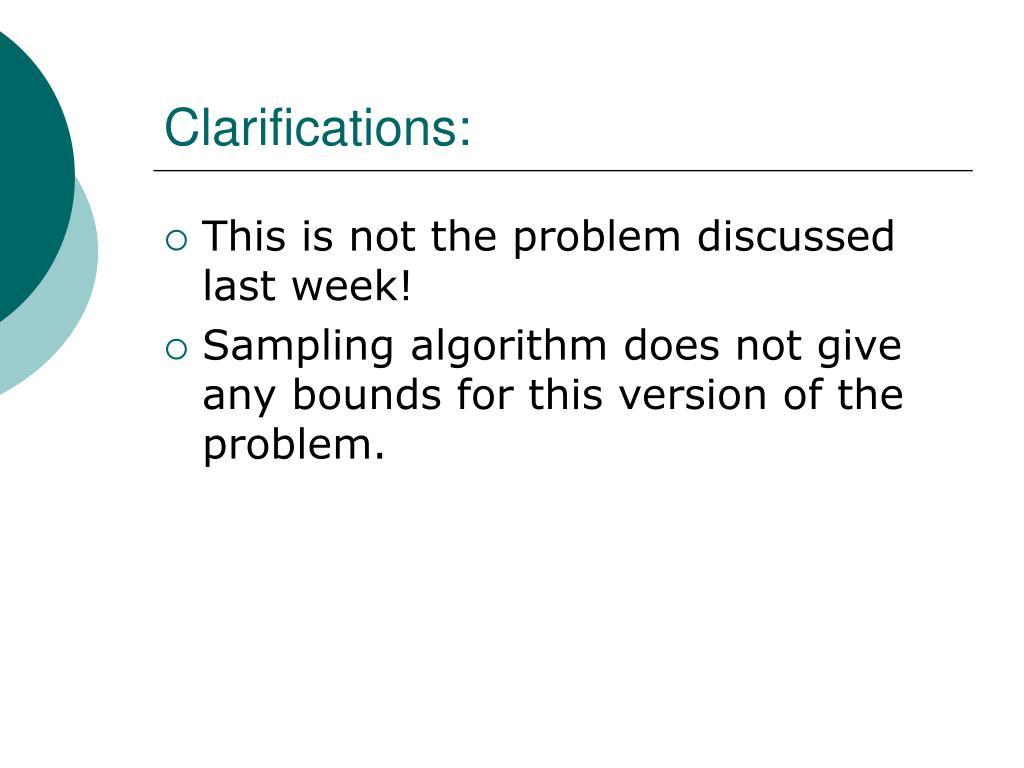 Clarifications: