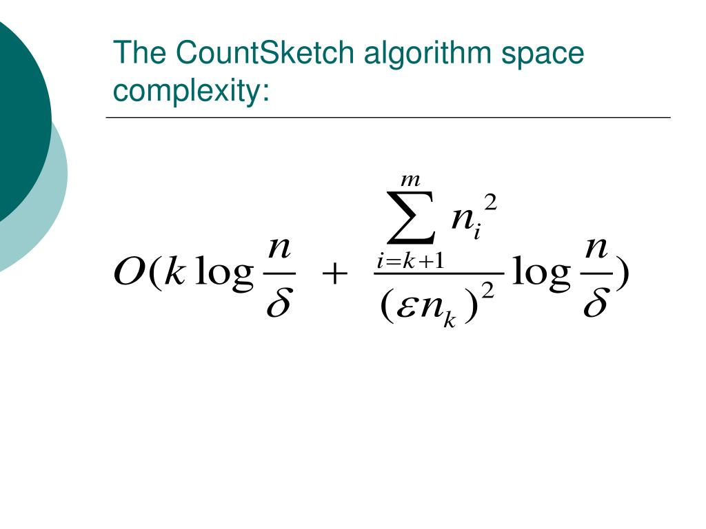 The CountSketch algorithm space complexity: