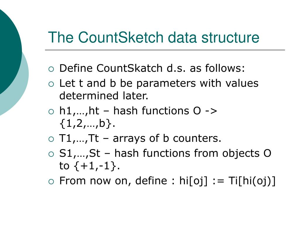 The CountSketch data structure