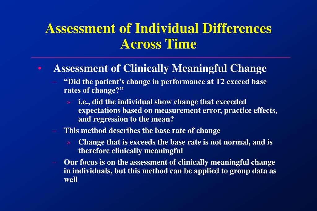 Assessment of Individual Differences Across Time