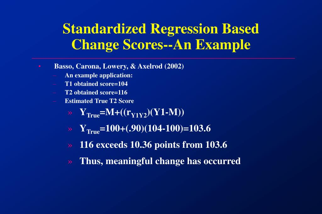 Standardized Regression Based Change Scores-