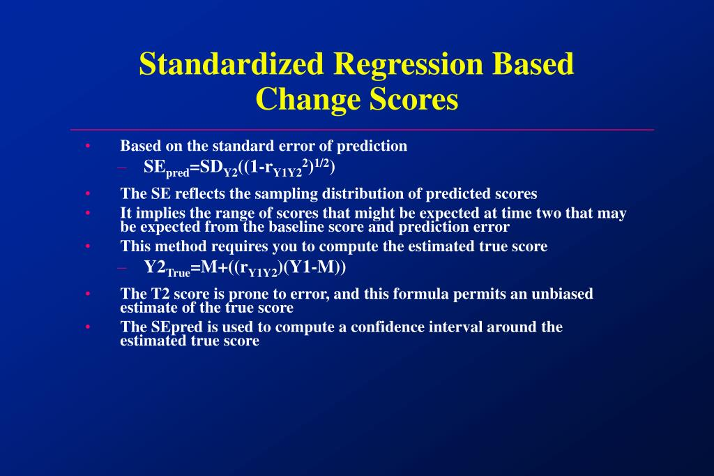 Standardized Regression Based Change Scores